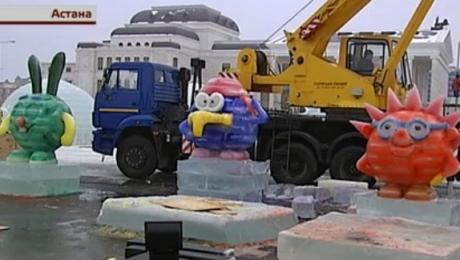 Ледовый городок в Астане возводят китайские специалисты